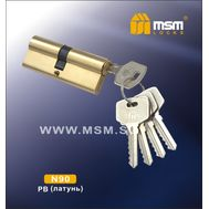 Цилиндровый механизм MSM Locks Простой ключ-ключ N90mm PB (латунь)
