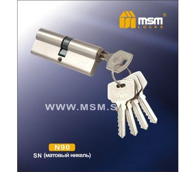 Цилиндровый механизм MSM Locks Простой ключ-ключ N90mm SN (матовый никель)